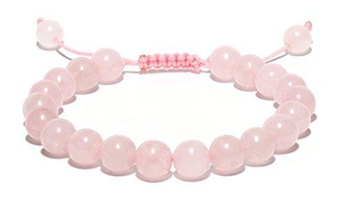 Raviga Handmade 8MM Semi-Precious Gemstones Adjustable Sliding Knot Beaded Bracelet Rose Tone