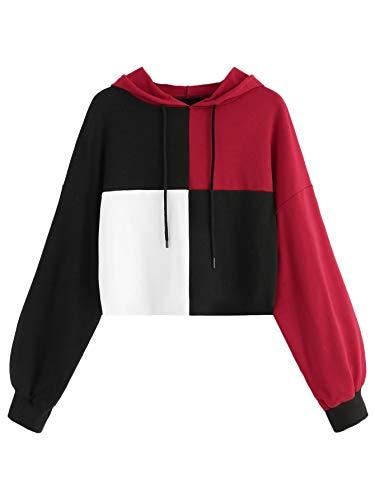 Multi Color Pullover - WDIRARA Women's Colorblock Hooded Pullover Sweatshirt Long Sleeve Crop Hoodie Multicolor M
