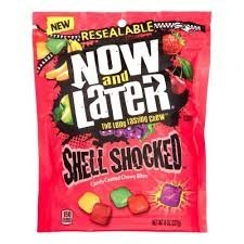 Now and Later Shell Shocked Candy Coated Chewy Bites! NEW! 8oz Bag! Apple, Strawberry, Banana, Cherry and Grape Flavored Chews! Delicious!