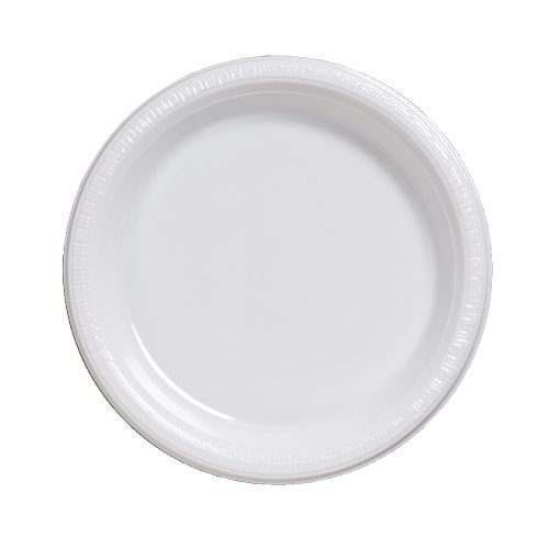 Creative Converting Touch of Color 50 Count Plastic Lunch Plates, White