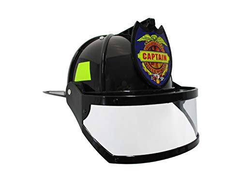 Black Firefighter Child Helmet - Nicky Bigs Novelties Fire Chief Plastic Helmet with Folding Visor Costume, Black/Yellow, One Size