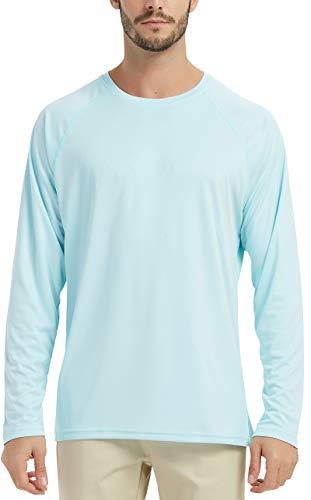SERHOM Men's UV Sun Protection UPF 50+ Outdoor Rashguard Long Sleeve SPF,Fishing,Hiking,Swim T-Shirts Light Green
