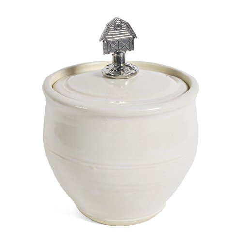 Oregon Stoneware Studio Sugar Bowl with Pewter Barn Finial, Whipping Cream
