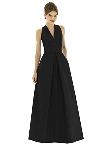 Forever Alfred Sung Style D611 Floor Length dupioni Pleated Skirt Formal Dress - Sleeveless V-Neck - Black - 12 - Alfred Sung Bridesmaid Gowns