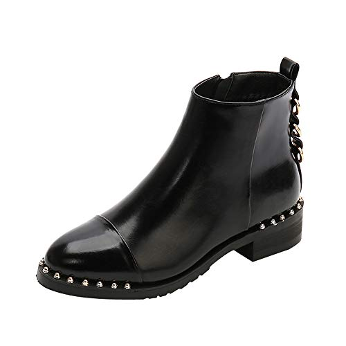 URSING Damen Martin Stiefel Frauen Rivet Flache Schuhe Britische Stil Martain Boots Lederstiefel Stiefeletten Round Toe Schuhe mit Reißverschluss Westernstiefel Damenstiefel Schwarz