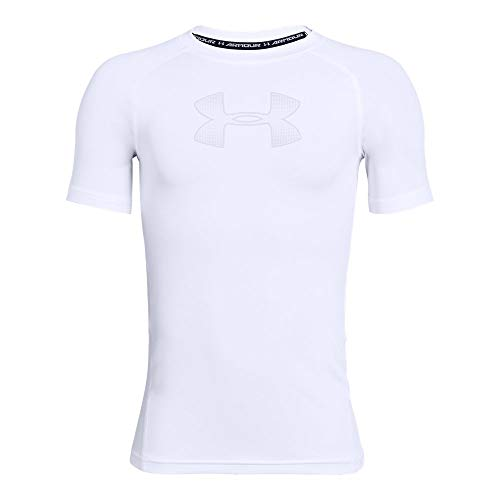- Under Armour HeatGear Armour Short Sleeve, White//Mod Gray, Youth Medium