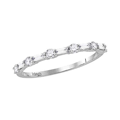 - Dazzlingrock Collection 14kt White Gold Womens Round Baguette Diamond Stackable Band Ring 3/8 Cttw