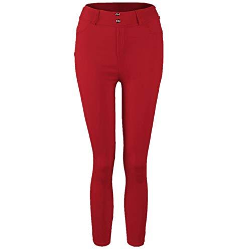 MORCHAN ? Femmes Taille Basse Sexy Hanche Push up Legging Jeggings Jeans Gothiques Combinaisons Pantalon Court Collants Knickerbockers Rouge