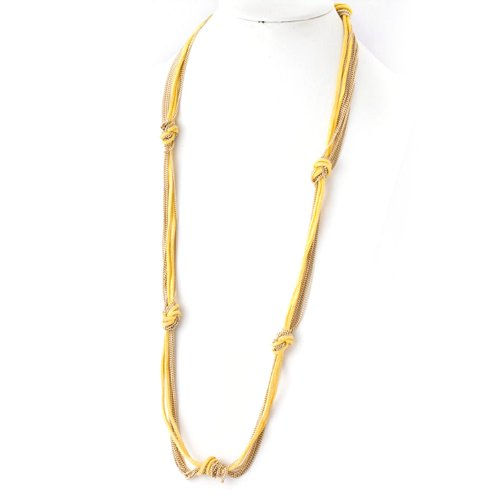 Fabric Chain Knotted Necklace with Gold Chain - Assorted Colors (Yellow) (Assorted Gold Chain Link Yellow)