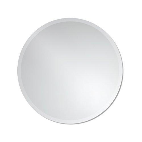 Round Frameless Wall Mirror | Bathroom, Vanity, Bedroom Mirror | 24-inch Diameter Circle | Beveled Edge
