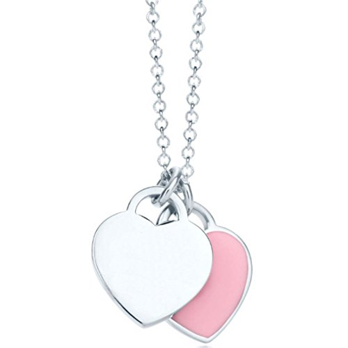 925 Sterling Silver Necklace Mini Double Heart Tag Pendant Blue Pink - And Tiffany Pink Co