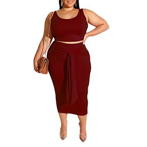 Womens Sexy Plus Size 2 Piece Midi Dress Outfits - Sleeveless Tie Dye Print Tank Crop Top Bodycon Skirts Set Wine Red Solid 4XL