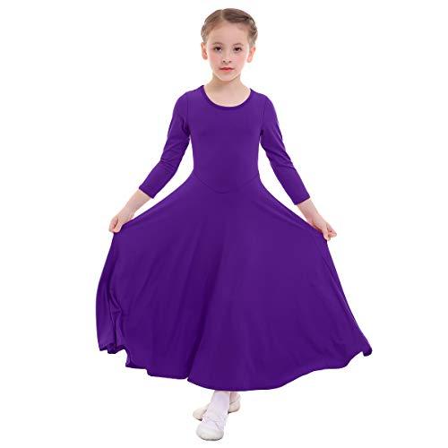 Kids Girls Liturgical Praise Dress Loose Fit Full Length Long Sleeve Dance Dress Dancewear Worship Costume Purple XL