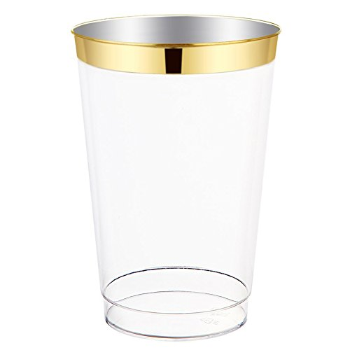 12oz Gold Plastic Cups-100pack Clear Plastic Cups with Gold Rim-Wedding/Party Disposable Cups-Heavyweight Plastic Tumblers-WDF (Gold Trim) ()