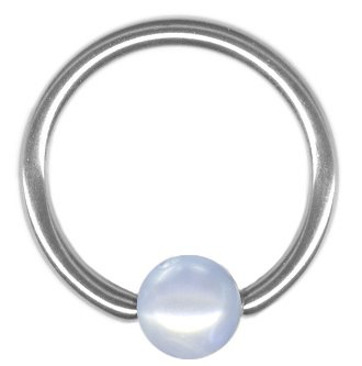 Blue Imitation Pearl Captive Bead Ring-18g-3//8 inch-10mm-Ear Piercing Hoop Body Jewelry One Lt