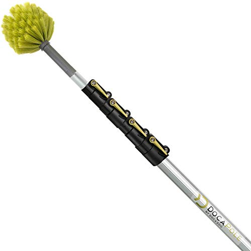 DocaPole 6-24 Foot Extension Pole with Cobweb Duster // Ceiling and Corner Duster // for Dusting and Cleaning High Ceilings and Corners with Extension Pole // Telescopic Pole Dusting and Cleaning Kit