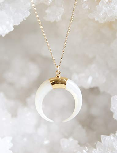 - Mother-of-Pearl Crescent Moon Gold Filled Necklace - 18