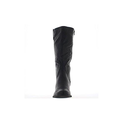 Bottes femme noires à talons épais de 7cm look cow girl