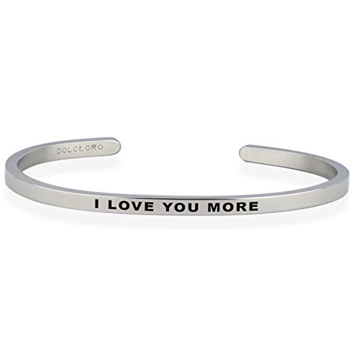 Dolceoro I Love You More - Inspirational Mantra Bracelet Jewelry 316L Surgical Stainless Steel by Dolceoro (Image #8)