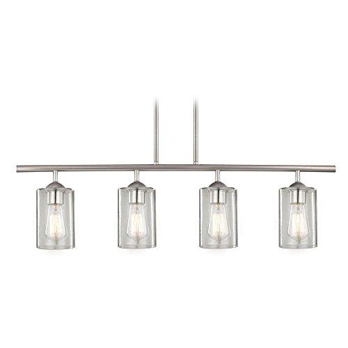 Industrial Seeded Glass Linear Pendant Light Satin Nickel 4 Lt