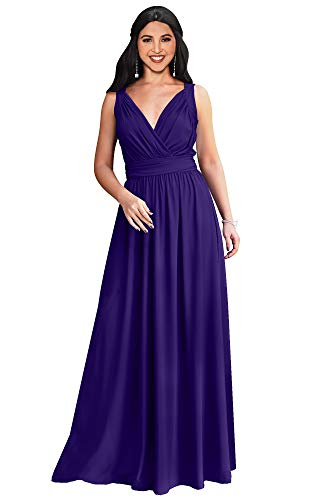 KOH KOH Womens Petite Long Sleeveless Flowy Bridesmaids Cocktail Party Evening Formal Sexy Summer Wedding Guest Ball Prom Gown Gowns Maxi Dress Dresses, Indigo Blue Purple XS 2-4 ()