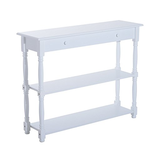 "Wood Bathroom Consoles - HomCom 40"" Pine Wood Entryway Console Table (White)"