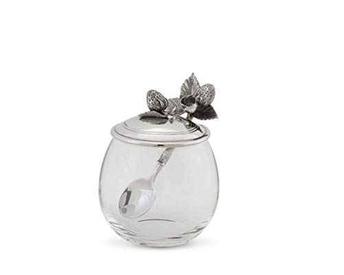 (Vagabond House Pewter Metal Strawberry Jam Jar/Pot with Spoon 5