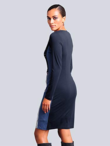 Damen in Hautfreundlich Patchoptik Dunkelblau by Jerseykleid Alba Moda TqwRxO5ntU