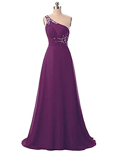 ANGELA One Shoulder Beaded Long Evening Prom Dresses Chiffon Wedding Party Gowns Grape 10