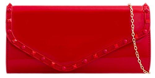 Girly Red Glossy Studs HandBags Clutch Bag vXOvx0qn