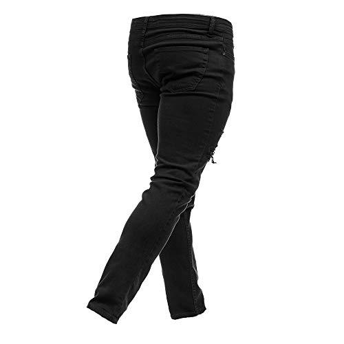 Lampo Mens Denim Pantaloni Skinny Jeans Alla Nero Chiusura Fori Merical Casual Moda Della Dei THgqHdn