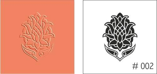FineArt Texture Stamps Lotus Flower Design Polymer Clay Molding Mat 3.5 cms by FineArt