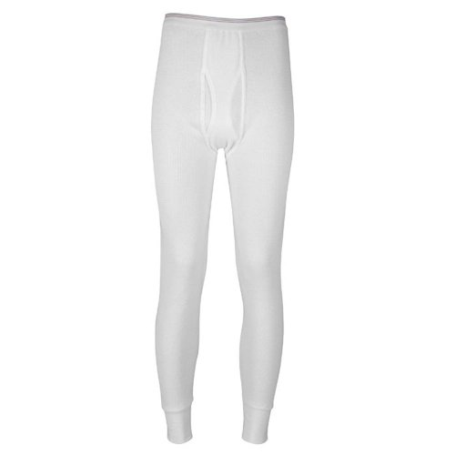 Indera - Mens Icetex Dual Face Fleeced Thermal Long John Pant 286DR, White 23495-X-Large