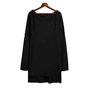 Farjing Women Casual Loose Long Sleeve Solid Sling Hooded Holiday Long Tops Shirt Blouse(s,black) 5