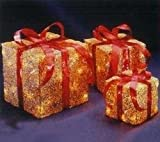 Set of 3 Sparkling Gold Sisal Gift Boxes Lighted Christmas Yard Art Decorations