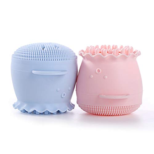 Silicone Cleansing Brush 2 Pack,Plainmarsh Silicone Cleansing Brush Octopus Facial Brush Cleaner for Girls,Deep Pore Cleansing Brush for All Skin Type (Pink and Blue)