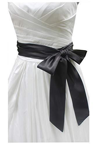 (Wedding satin sash belt for special occasion ddress bridal sash (Black))