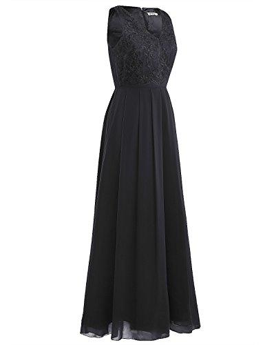 Noche Dama de de Negro Honor para Vestido Cóctel Largo Ceremonia Boda de Flores Vestido Traje iEFiEL para Mujer aZT6nn