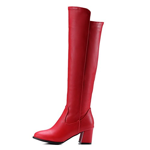 AllhqFashion Mujeres Tacón ancho Caña Alta Sólido Cremallera Botas Rojo