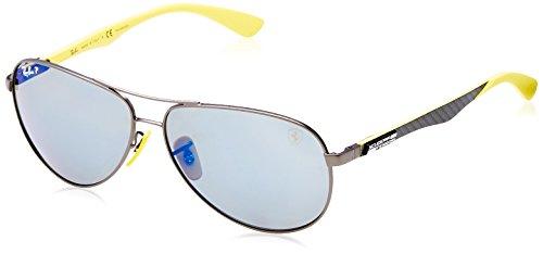 Ray-Ban RB8313M Scuderia Ferrari Collection Aviator Sunglasses, Matte Gunmetal/Polarized Blue Mirror, 61 mm ()