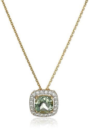 18k Yellow Gold Plated Sterling Silver Two Tone Cushion Cut Genuine Green Amethyst and Round Created White Sapphire Halo Pendant Necklace, 18