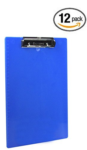 12 pack Saunders Plastic Translucent Clipboard with Low Profile Clip, Letter Size, 8.5 Inches x 12 Inches, Made in USA (Blue 21582) by Saunders