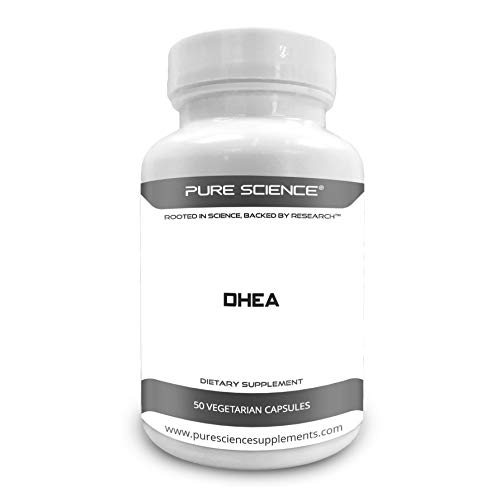 Pure Science DHEA 100mg (Dehydroepiandrosterone) with 5mg BioPerine (Natural Bioavailability Enhancer for Better Absorption) - Regulates Testosterone & Estrogen Levels – 50 Vegetarian Capsules