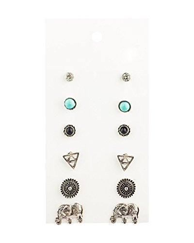 Daycindy Stud Earrings Bohemia Retro Good Luck Elephant With Card Women Jewelry