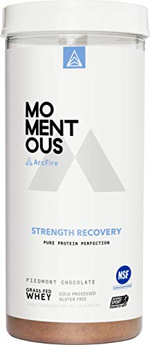 ArcFire Grass-Fed Whey Protein Isolate, 14 Servings Per Jar for Strength Recovery Post-Workout Protien Powder, Gluten-Free, NSF Certified - Momentous (Chocolate)