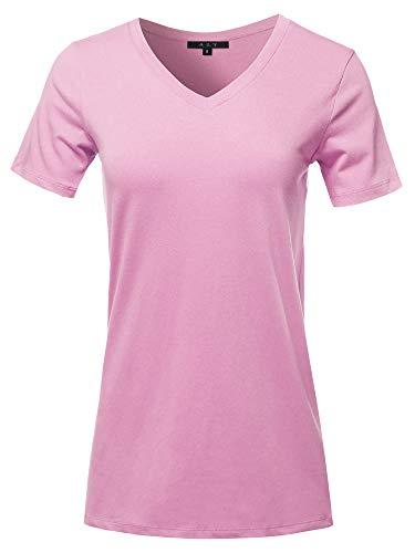 Basic Solid Premium Cotton Short Sleeve V-Neck T Shirt Tee Tops Mauve 2XL