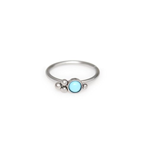 Ring with Turquoise - nose hoop 22g 20g 18g nose piercing, nose jewelry (Turquoise Nose)