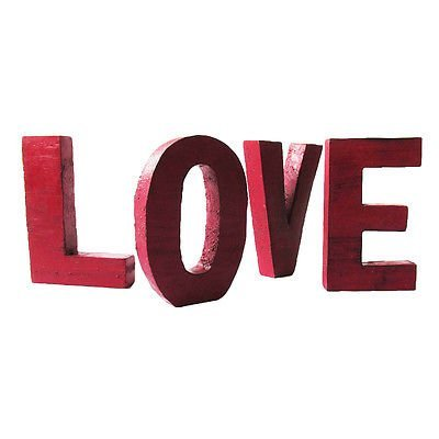20cm Wooden LOVE Wording Letters in Red Wash Set of 4 Hand Carved Vintage Style ()