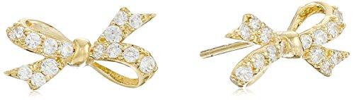 10k Gold Swarovski Zirconia Dainty Bow Stud Earrings