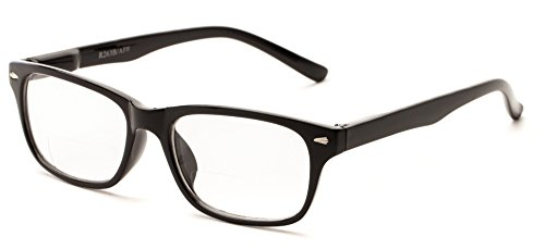 Readers.com The Williamsburg Bifocal +1.25 Black Rectangle Bifocal Simple & Timeless Retro Square Reading - 1.25 Bifocal Glasses Reading